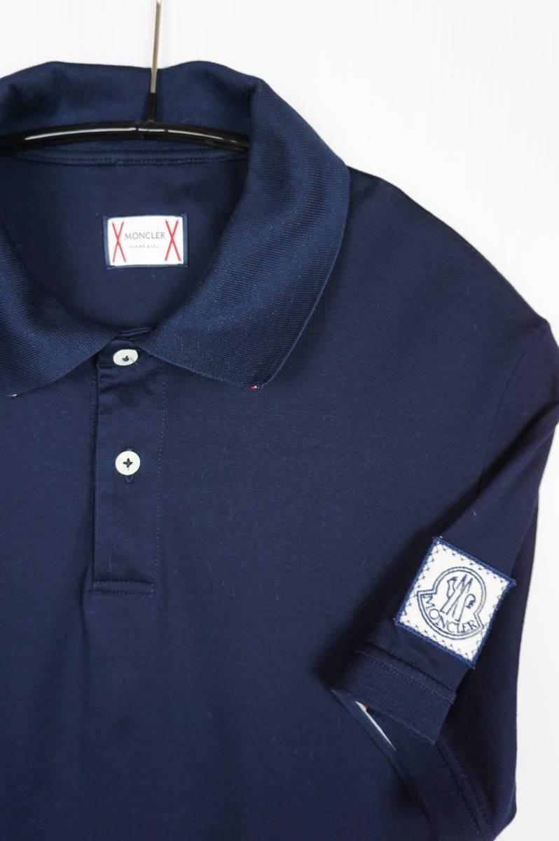 極美品 正規品 モンクレールガムブルー/ ポロシャツ ダークブルー サイズS 認証タグ付 送料込(管理番号JD66)_画像2