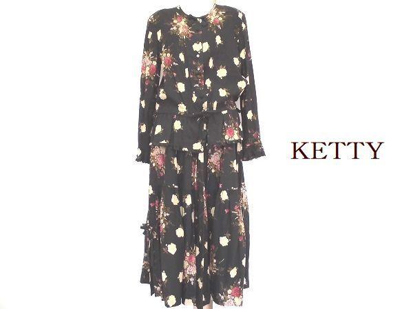 574363 KETY ケティ 黒 花柄 ロング ツーピース