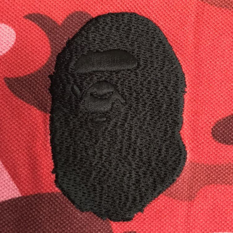pharrell camo ポロシャツ Mサイズ a bathing ape エイプ ベイプ アベイシングエイプ 迷彩 カモフラ Tシャツ red camo レッドカモ bape_画像3