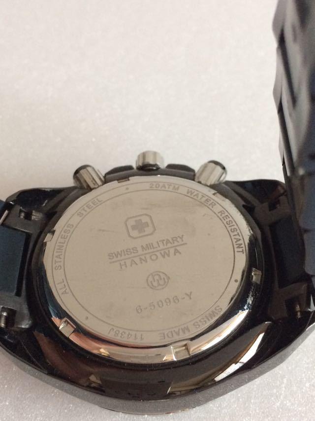 190415-001-1587 SWISS MILITARY HANOWA スイスミリタリー ハノワ メンズ腕時計 金属ベルト ブラック_画像8