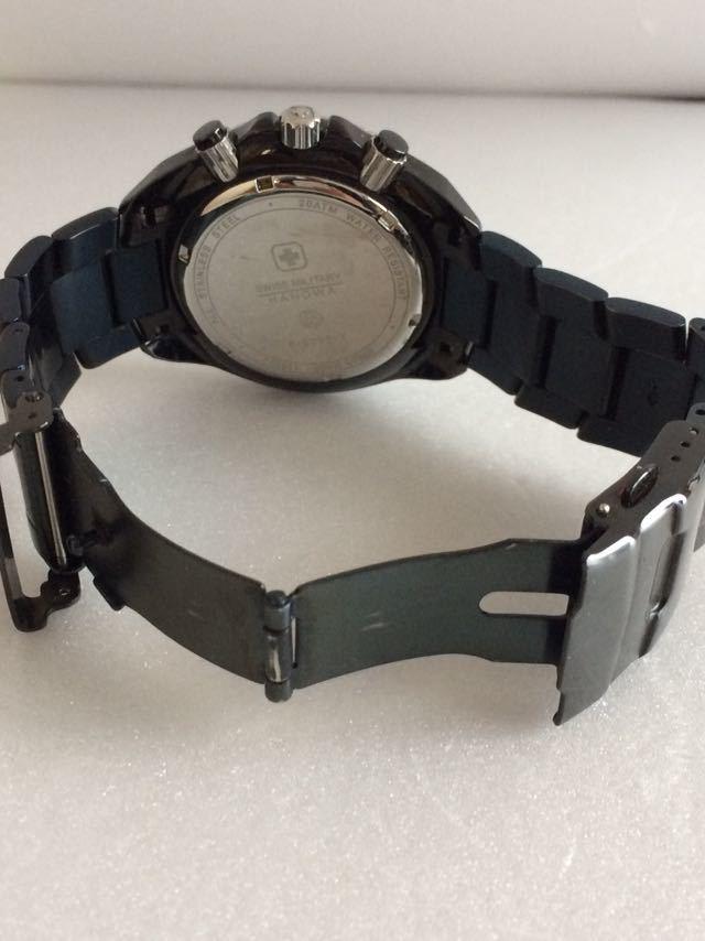 190415-001-1587 SWISS MILITARY HANOWA スイスミリタリー ハノワ メンズ腕時計 金属ベルト ブラック_画像7