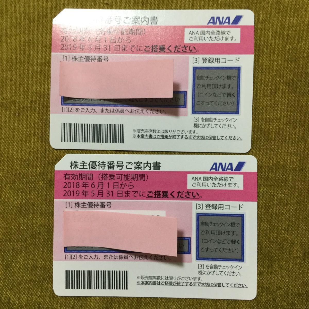 送料無料 ANA株主優待券有効期限2019/5/31 二枚セット