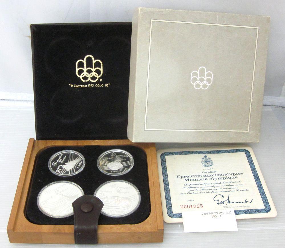〇オリンピック モントリオール1976年〇カナダ貨幣コイン4枚セット【外装箱付き】〇ケースの蓋に目立つ汚れあり〇f521_画像3