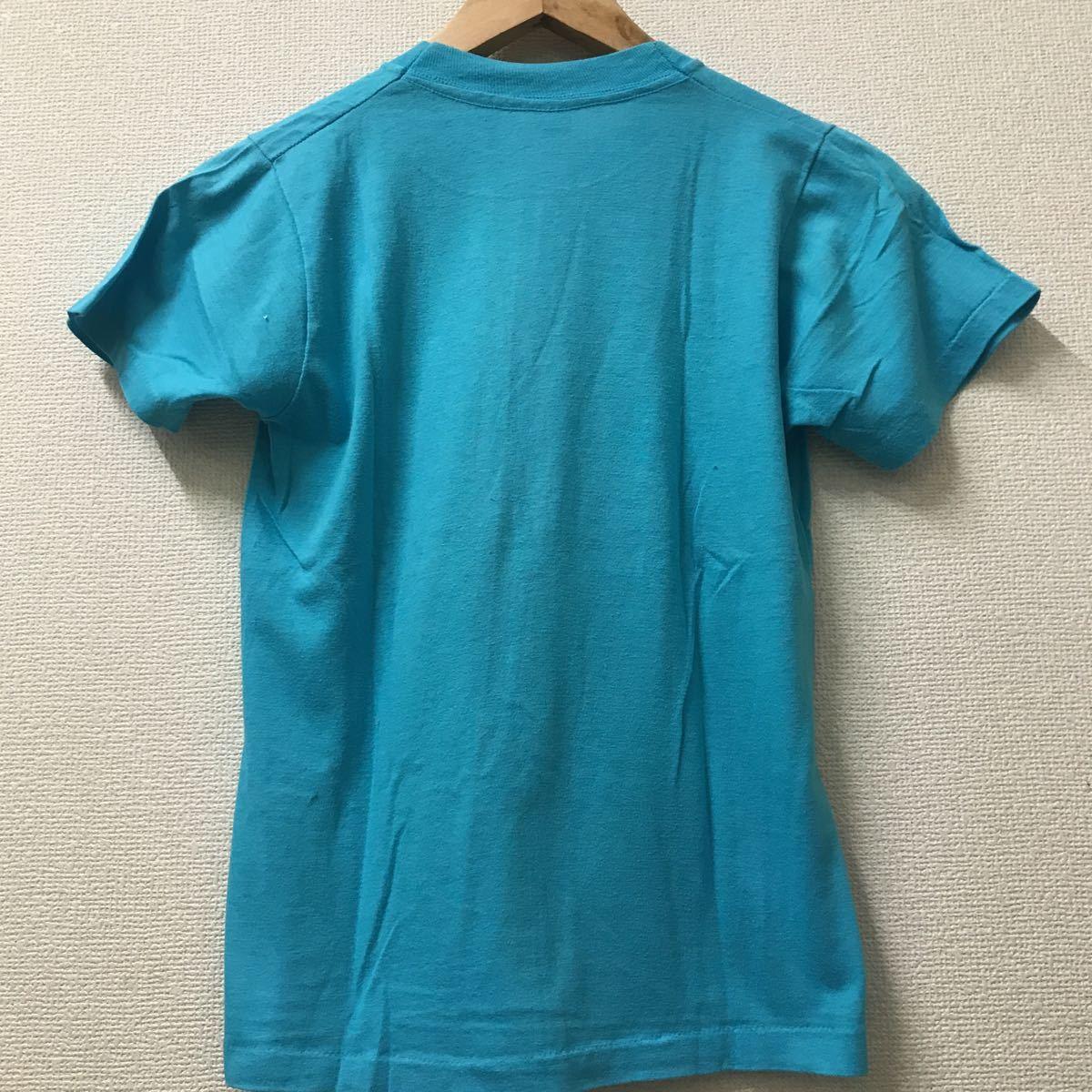 80's ヴィンテージ ダンスTシャツ カルフォルニア made in USA アメリカ製 ターコイズ_画像4