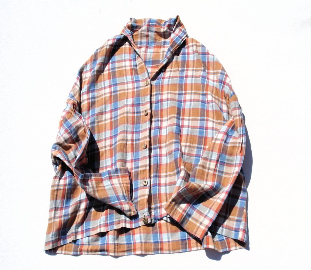 ◆美品♪JOURNAL STANDARD ジャーナルスタンダード◆おしゃれな変形♪ワイド 綿麻 ツイル チェック柄 ビッグ2WAYシャツ ブラウス♪☆y9_画像6