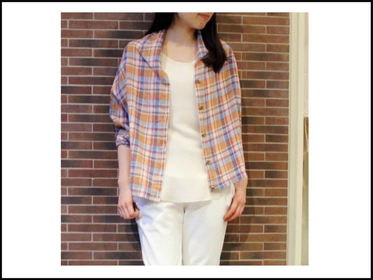 ◆美品♪JOURNAL STANDARD ジャーナルスタンダード◆おしゃれな変形♪ワイド 綿麻 ツイル チェック柄 ビッグ2WAYシャツ ブラウス♪☆y9_画像2