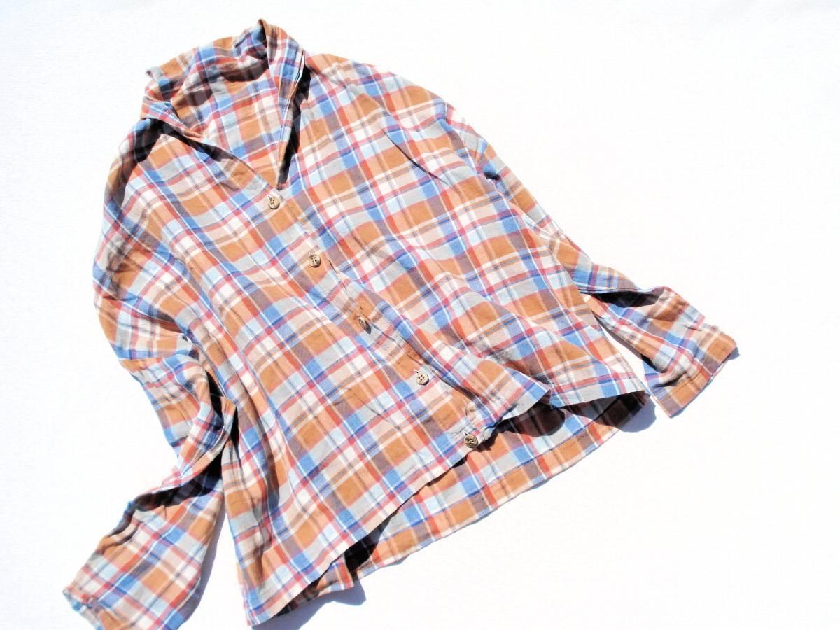 ◆美品♪JOURNAL STANDARD ジャーナルスタンダード◆おしゃれな変形♪ワイド 綿麻 ツイル チェック柄 ビッグ2WAYシャツ ブラウス♪☆y9_画像3