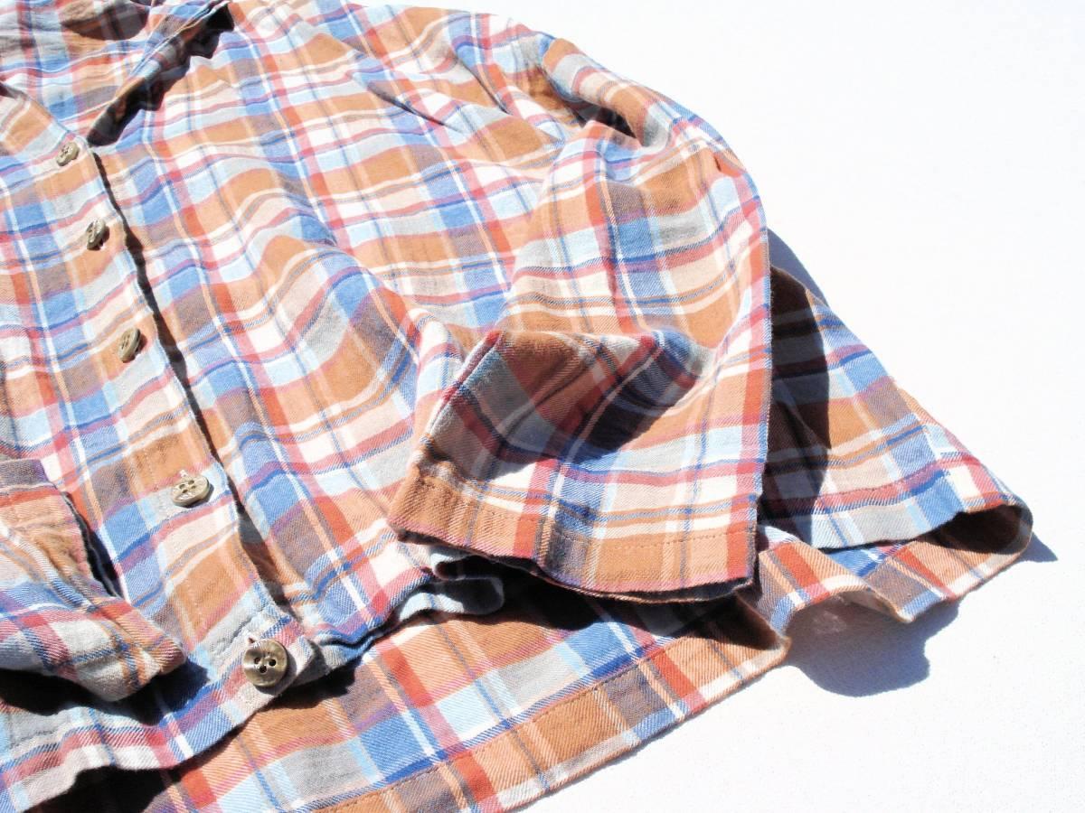 ◆美品♪JOURNAL STANDARD ジャーナルスタンダード◆おしゃれな変形♪ワイド 綿麻 ツイル チェック柄 ビッグ2WAYシャツ ブラウス♪☆y9_画像4