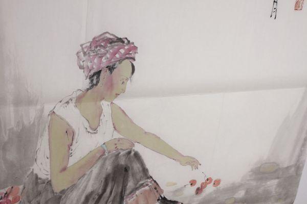 L21884 中国美術 落款有 文江 作「秋趣圖 康辰夏月 美人画」水彩画 まくり 真筆 女性図_画像8