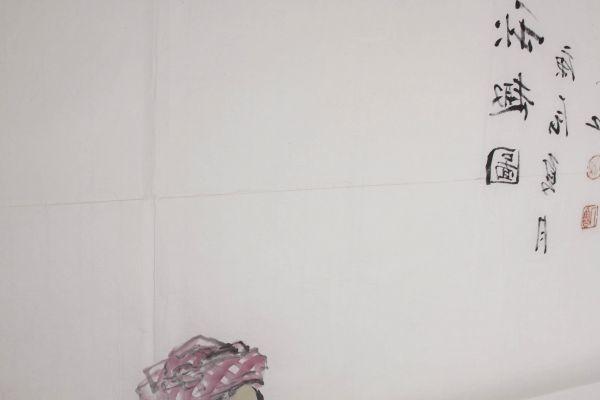L21884 中国美術 落款有 文江 作「秋趣圖 康辰夏月 美人画」水彩画 まくり 真筆 女性図_画像9