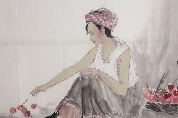 L21884 中国美術 落款有 文江 作「秋趣圖 康辰夏月 美人画」水彩画 まくり 真筆 女性図_画像3