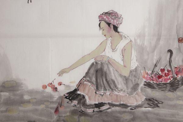 L21884 中国美術 落款有 文江 作「秋趣圖 康辰夏月 美人画」水彩画 まくり 真筆 女性図_画像2