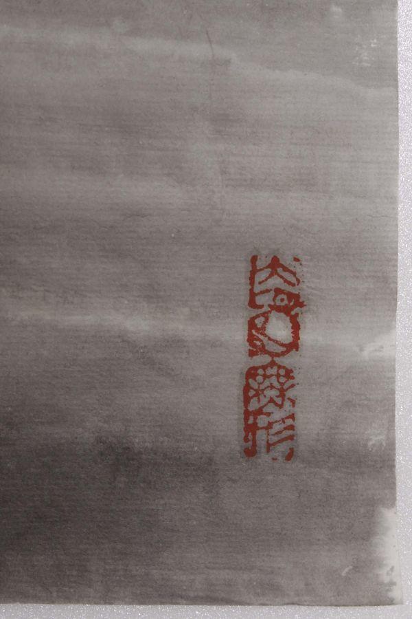 L21884 中国美術 落款有 文江 作「秋趣圖 康辰夏月 美人画」水彩画 まくり 真筆 女性図_画像6