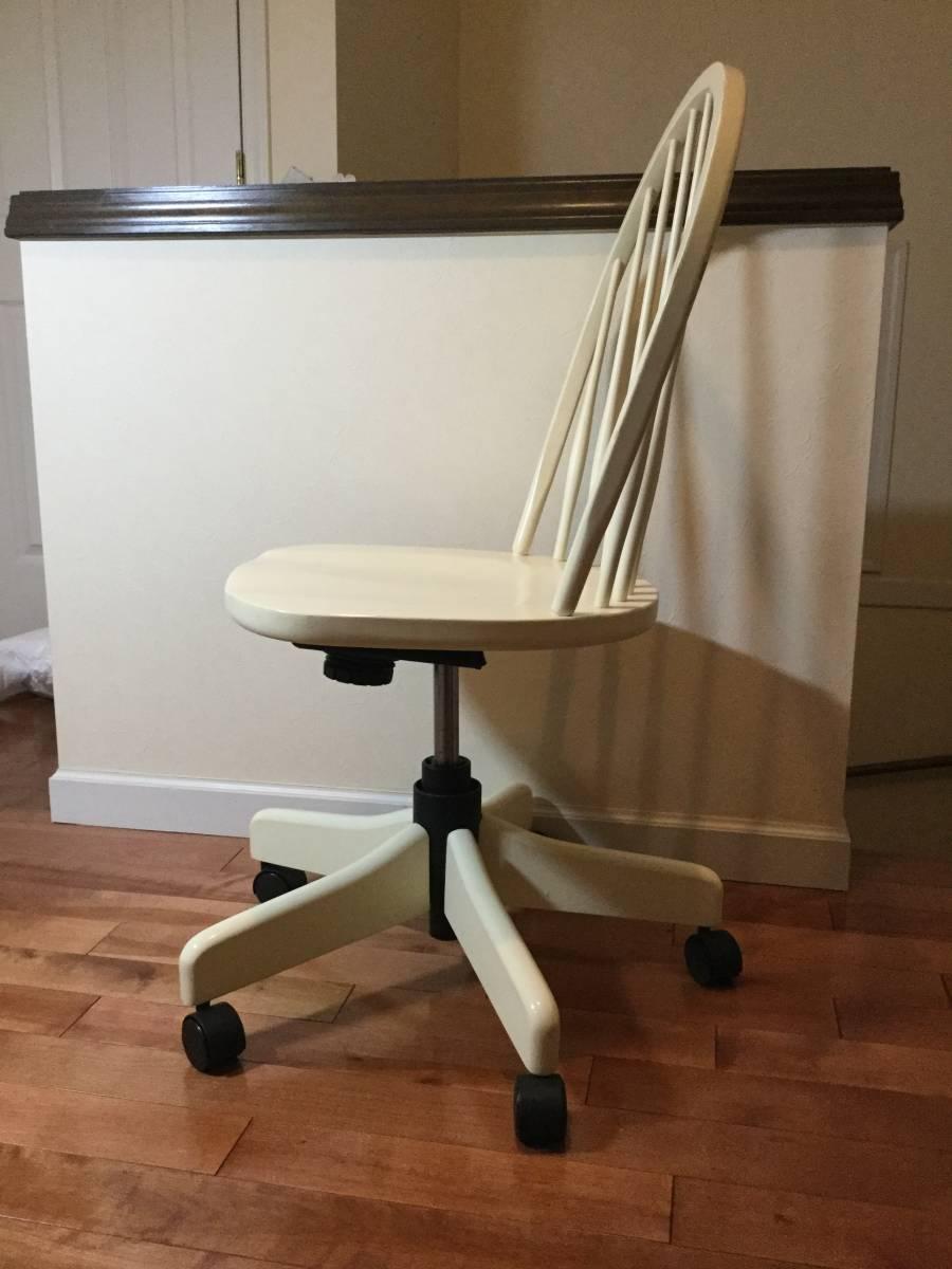 【送料無料】チェア 椅子 イーセンアーレン ETHAN ALLEN アメリカ製 高さ調整 アジャスト 白 ホワイト アンティーク調_画像4