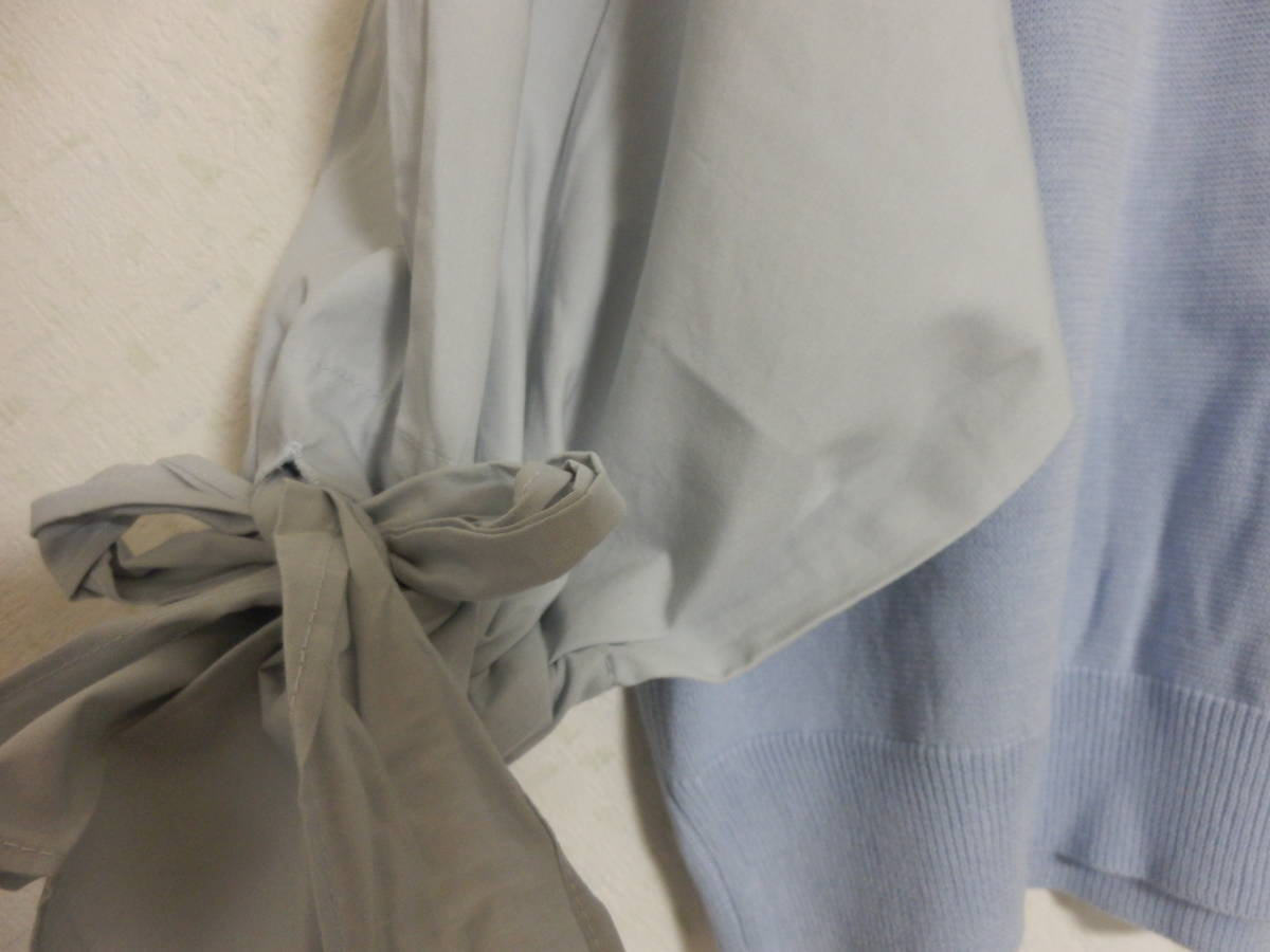 新品春物グランターブルスコットクラブコットン100%異素材ミックス袖シャツ素材リボンニットブルー定価15800_画像4