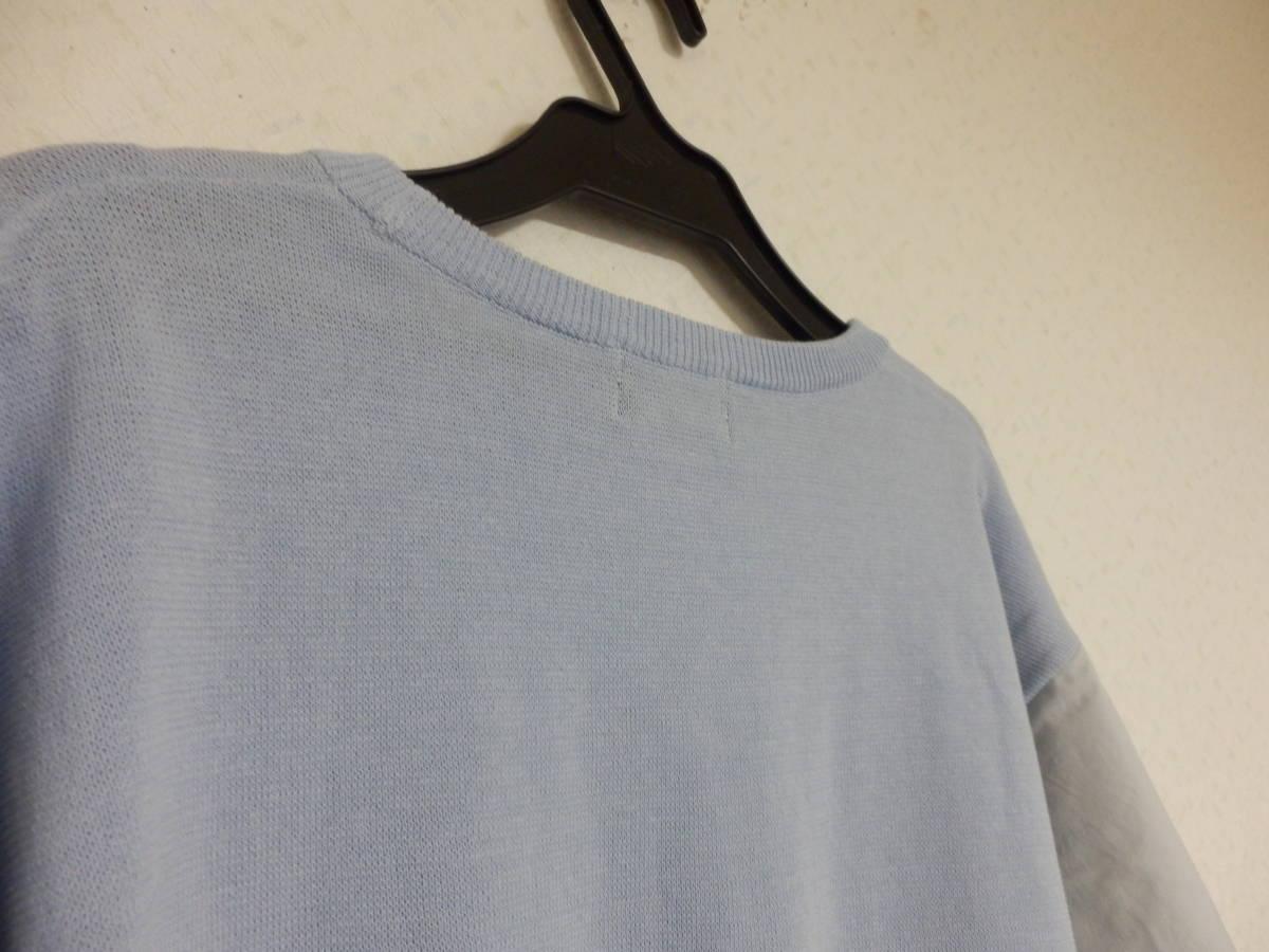 新品春物グランターブルスコットクラブコットン100%異素材ミックス袖シャツ素材リボンニットブルー定価15800_画像7
