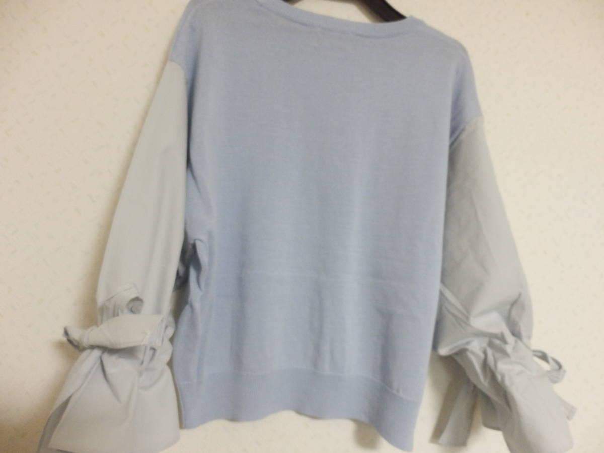新品春物グランターブルスコットクラブコットン100%異素材ミックス袖シャツ素材リボンニットブルー定価15800_画像8