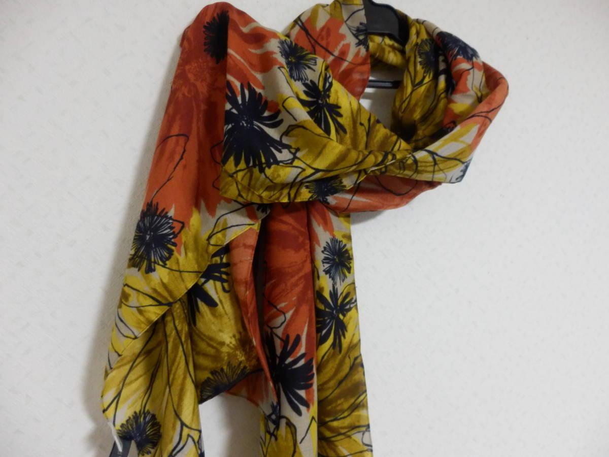 新品春物ペシンシャPECHINCHARスコットクラブ暖色系ひまわり柄ロングストール定価5900