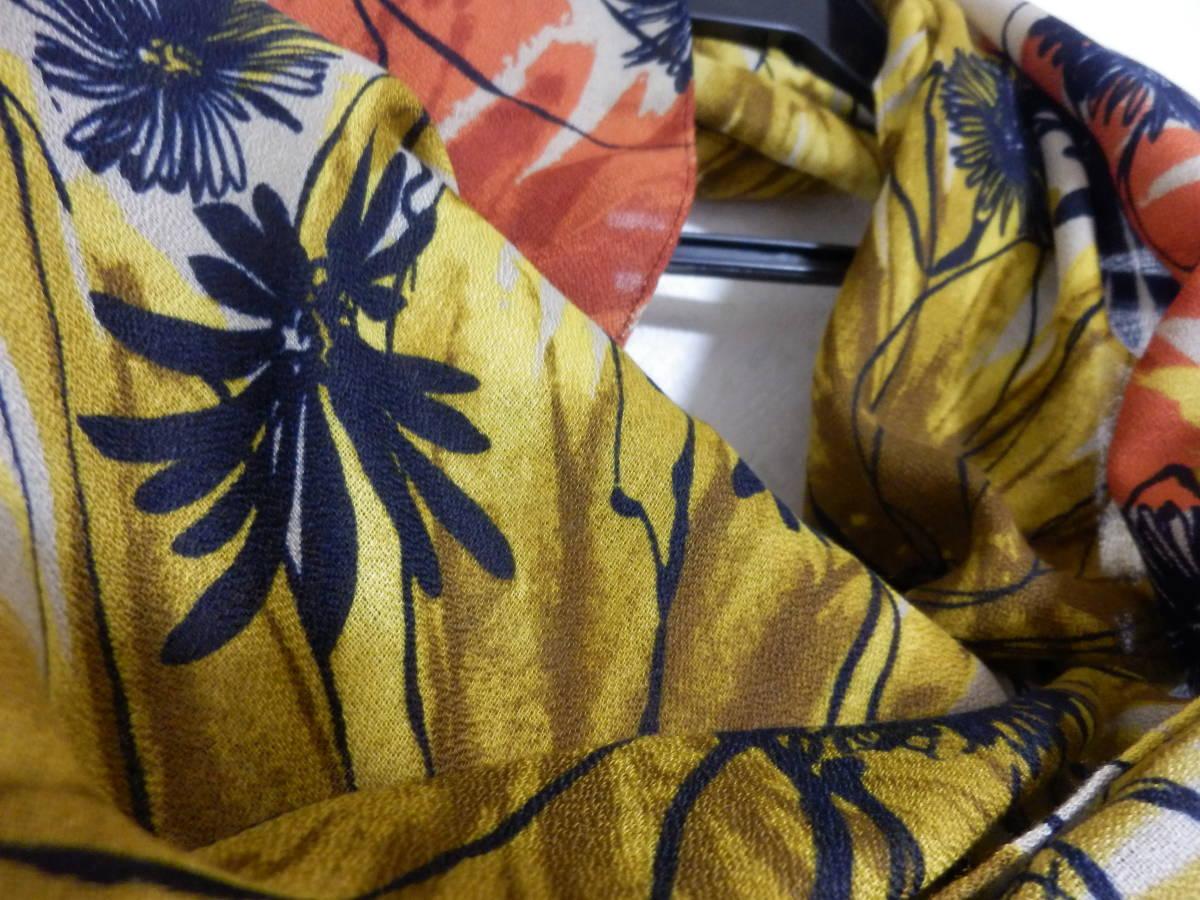 新品春物ペシンシャPECHINCHARスコットクラブ暖色系ひまわり柄ロングストール定価5900_画像3
