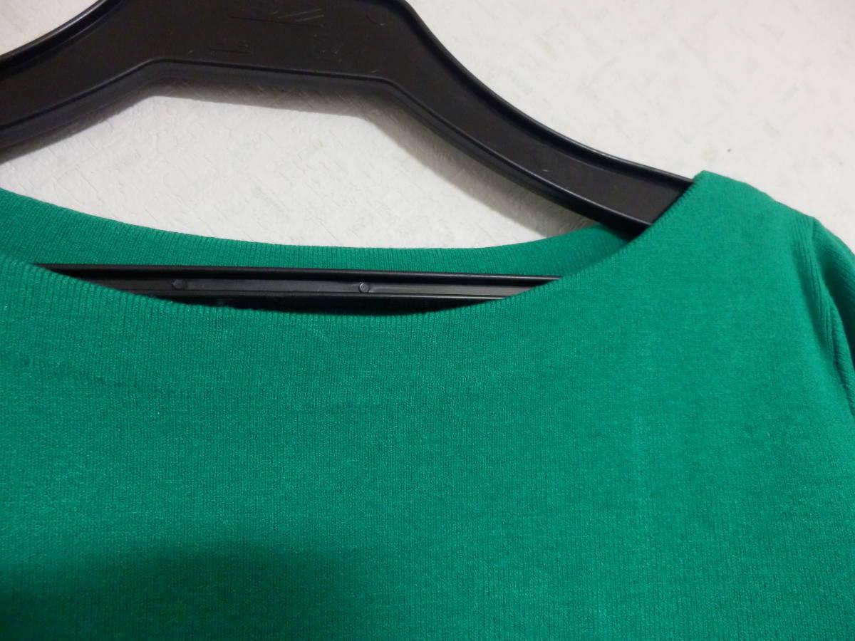 新品春物フェンネルFENNELスコットクラブストレッチ袖口リボン七分袖グリーンニット定価15984_画像3
