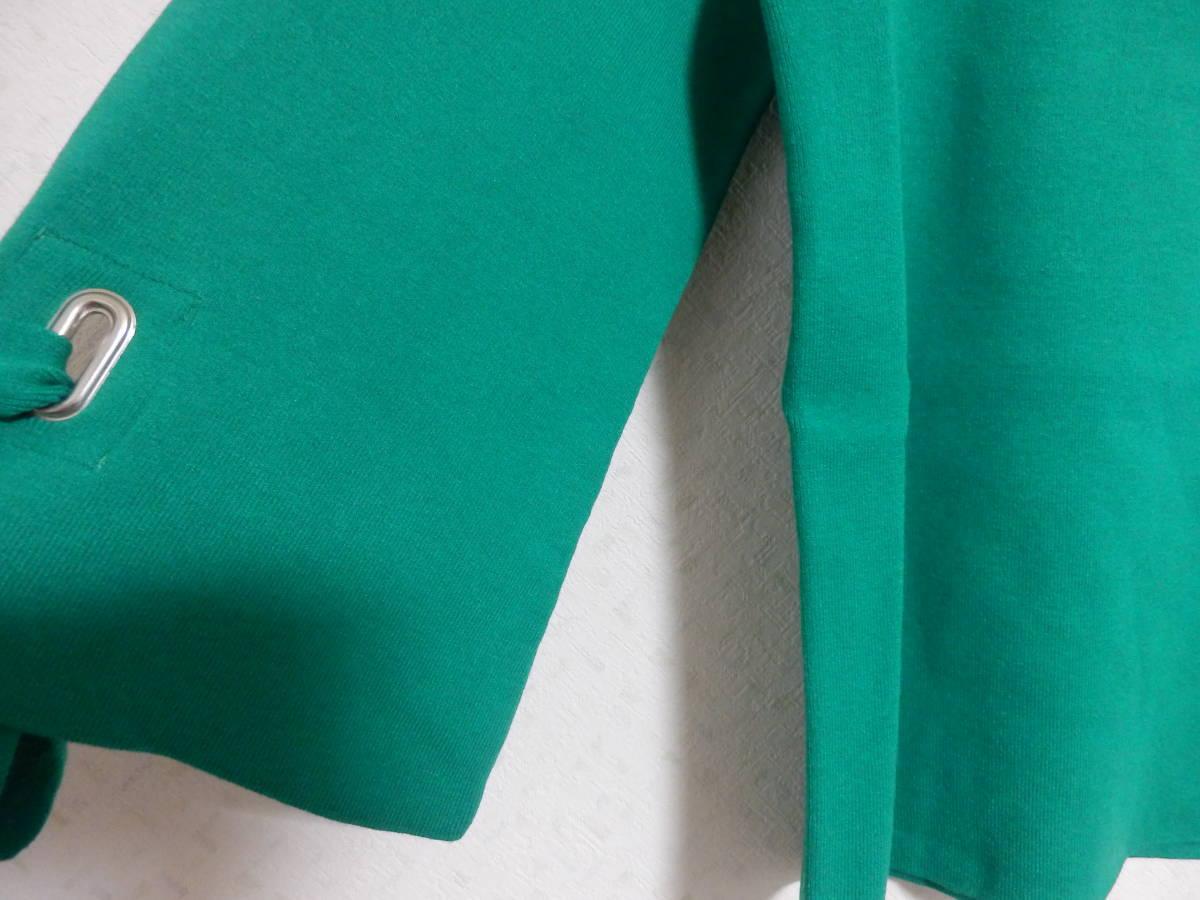 新品春物フェンネルFENNELスコットクラブストレッチ袖口リボン七分袖グリーンニット定価15984_画像5