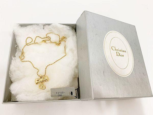 ◎クリスチャン・ディオール Christian Dior ネックレス リボン ゴールド 中古品 箱付  KK56