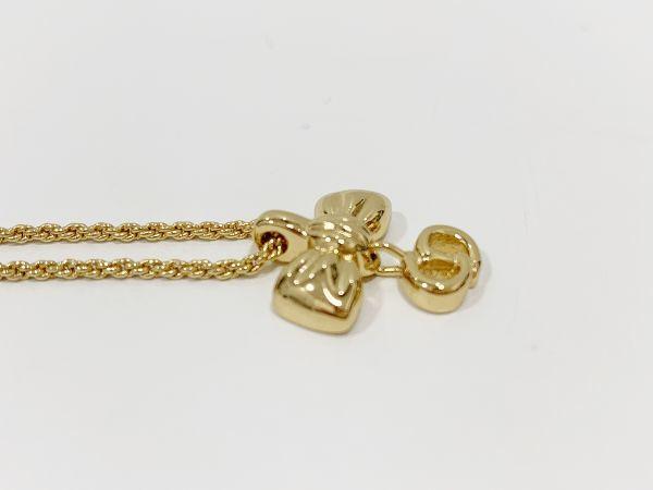 ◎クリスチャン・ディオール Christian Dior ネックレス リボン ゴールド 中古品 箱付  KK56_画像6