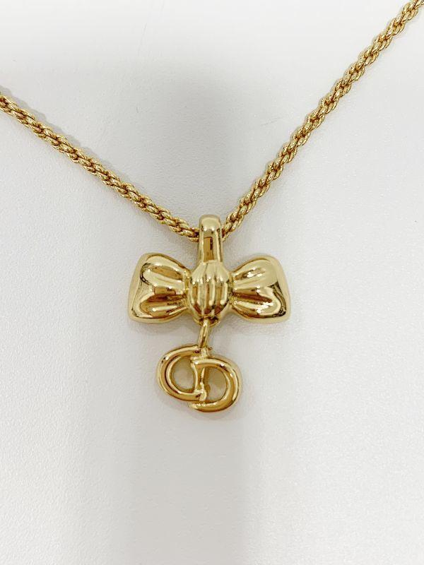 ◎クリスチャン・ディオール Christian Dior ネックレス リボン ゴールド 中古品 箱付  KK56_画像5