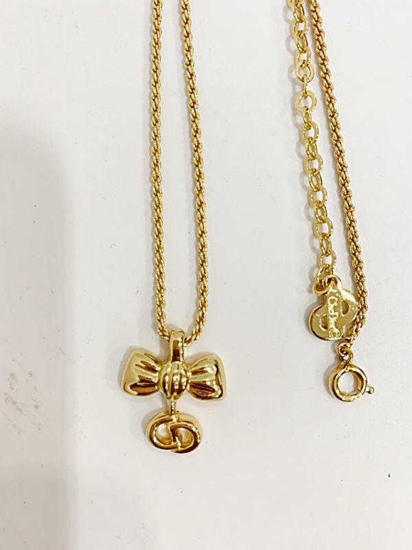 ◎クリスチャン・ディオール Christian Dior ネックレス リボン ゴールド 中古品 箱付  KK56_画像4