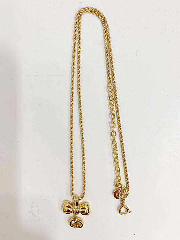 ◎クリスチャン・ディオール Christian Dior ネックレス リボン ゴールド 中古品 箱付  KK56_画像3