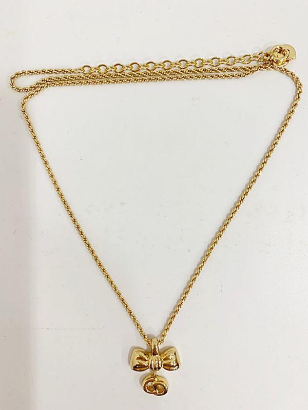 ◎クリスチャン・ディオール Christian Dior ネックレス リボン ゴールド 中古品 箱付  KK56_画像2