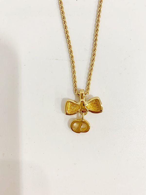 ◎クリスチャン・ディオール Christian Dior ネックレス リボン ゴールド 中古品 箱付  KK56_画像8