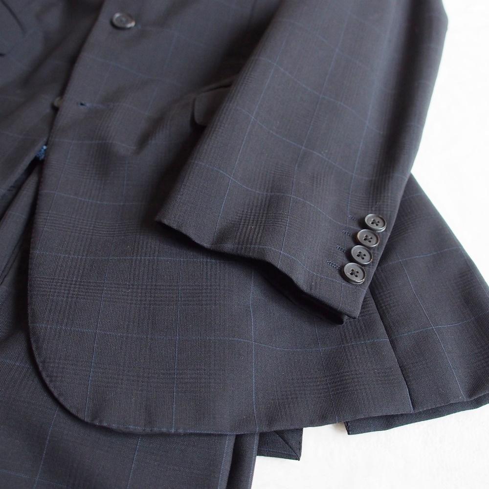 英国クラシック★アクアスキュータム Aquascutum モヘヤ混ウール シャリ感 ウインドウペン柄 ダークグレー メンズスーツ M位 ビジネス_画像3