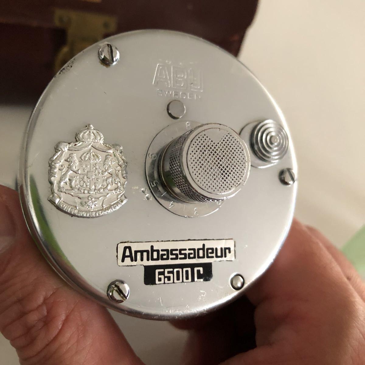 美品 ABU 6500C 79年 ブラックステッカーモデル シルバー 革ケース付属付き/アブ ambassadeur 雷魚_画像2