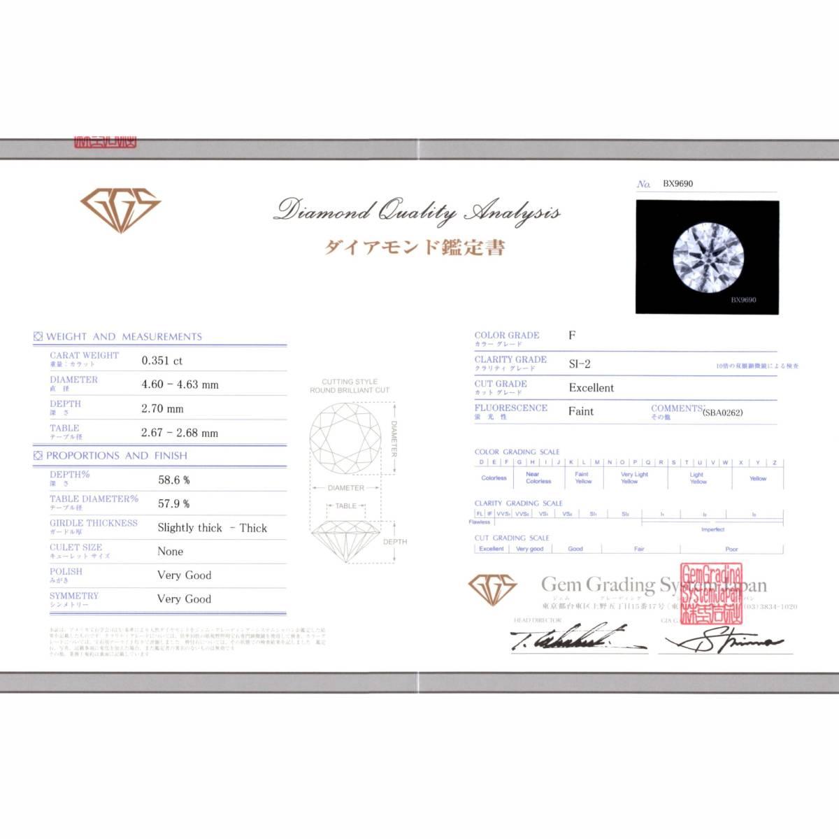 【極上】工房直販!0.661ct F-SI2-Excellent ダイヤリング!【新品】_画像3