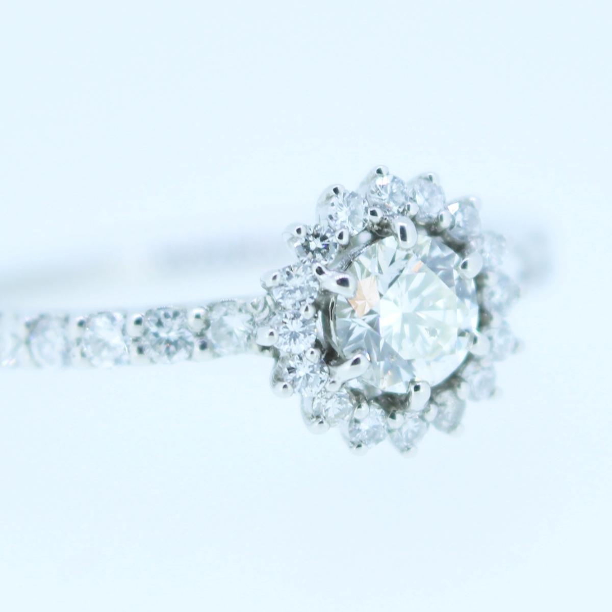【鑑定書付】プラチナ pt900 工房直販!0.661ct F-SI2-Excellent フラワー モチーフ ダイヤモンド リング 指輪 【新品】_画像5
