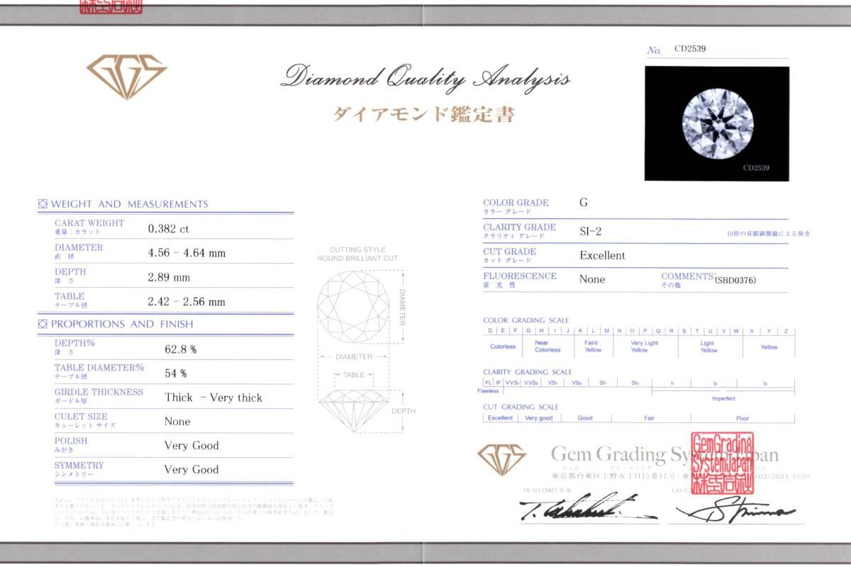信頼のGGS社発行の鑑定書です。