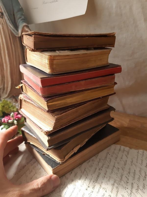 フランスアンティーク 素敵な 革 洋書 聖書 小振り 19世紀 9冊セット ブック_画像3