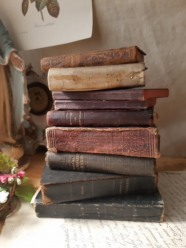 フランスアンティーク 素敵な 革 洋書 聖書 小振り 19世紀 9冊セット ブック_画像10