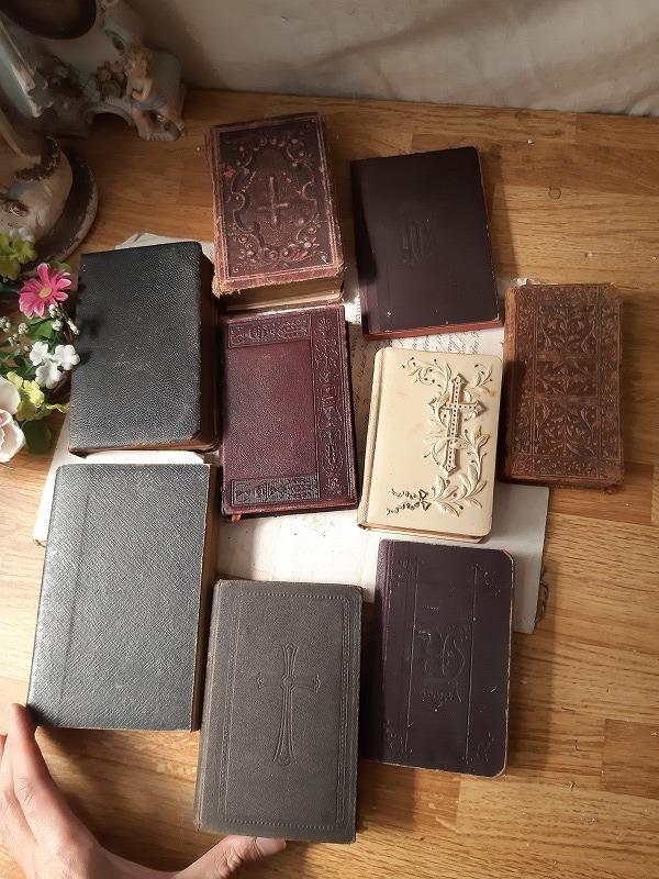 フランスアンティーク 素敵な 革 洋書 聖書 小振り 19世紀 9冊セット ブック_画像4