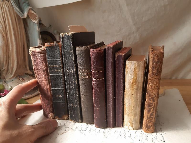 フランスアンティーク 素敵な 革 洋書 聖書 小振り 19世紀 9冊セット ブック