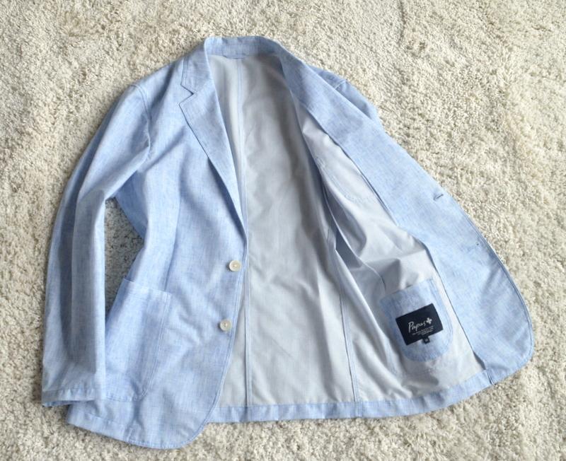 【試着程度】新品同様 清潔感溢れる 軽量 春夏 日本製 Papas+ パパスプラス メンズ テーラード ブレザー ジャケット サイズ M