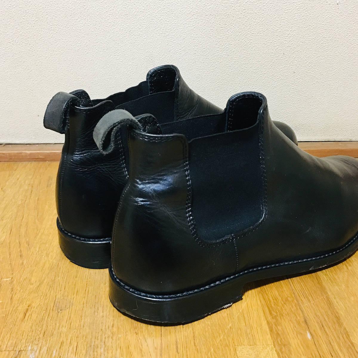 ■ 美品 定価3.8万 《 PADRONE 》 メンズ サイドゴア 本革 ショートブーツ 41 26-26.5cm 黒 パドローネ プレーントゥ レザーシューズ 革靴 _画像5