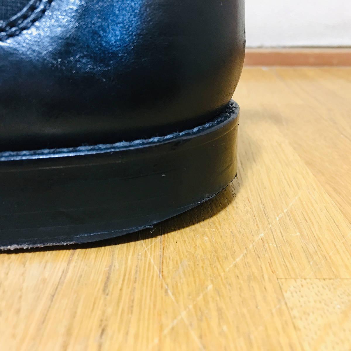 ■ 美品 定価3.8万 《 PADRONE 》 メンズ サイドゴア 本革 ショートブーツ 41 26-26.5cm 黒 パドローネ プレーントゥ レザーシューズ 革靴 _画像6