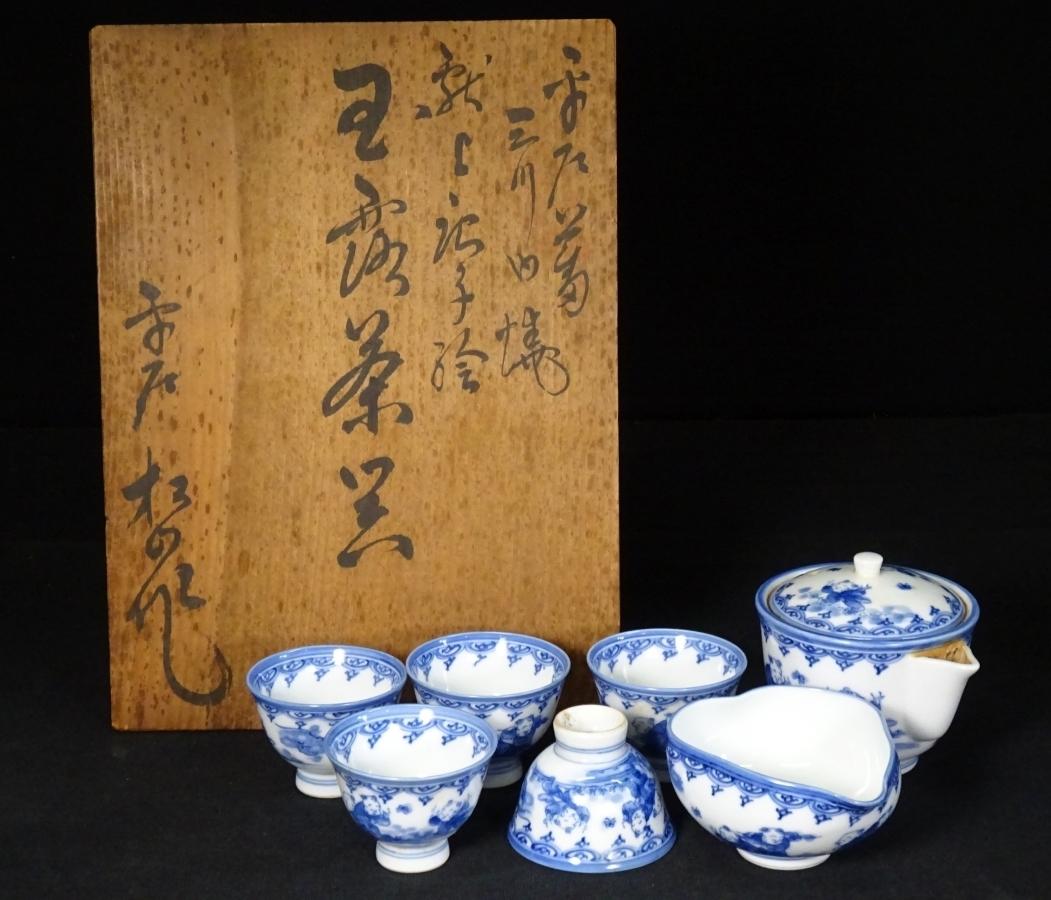 87■三川内焼 平戸 松山作 献上唐子絵 煎茶器揃 急須 湯冷 煎茶碗 5客 共箱 煎茶道具