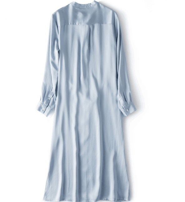 new goods adult appear lady's 100% silk One-piece SILVIYE long shirt simple light blue XL