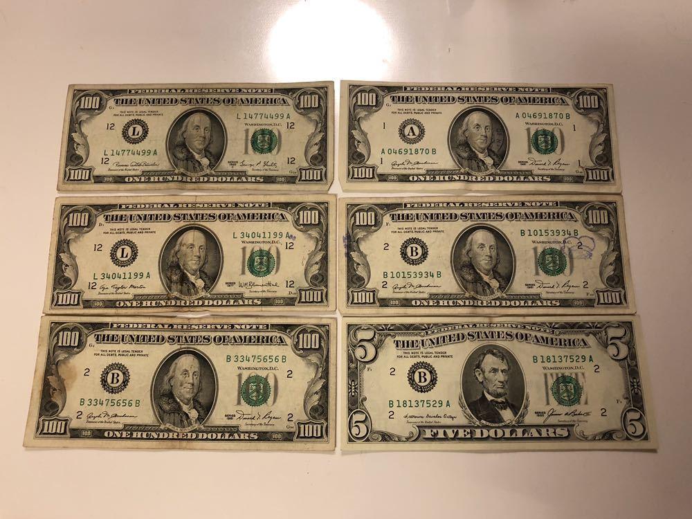 アメリカ 旧紙幣 505ドル分