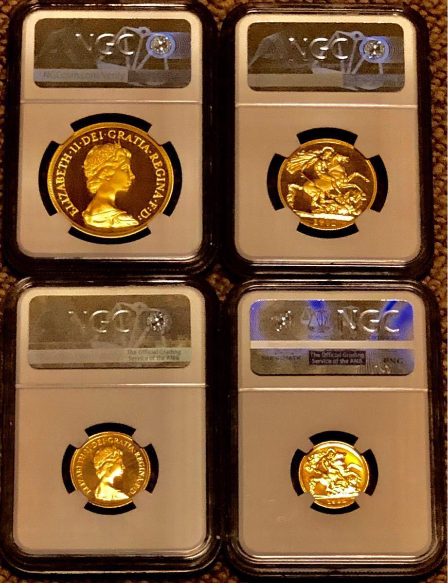 イギリス金貨 1982 全てPF70UC 4枚セット 特年 ヤングエリザベス_画像2