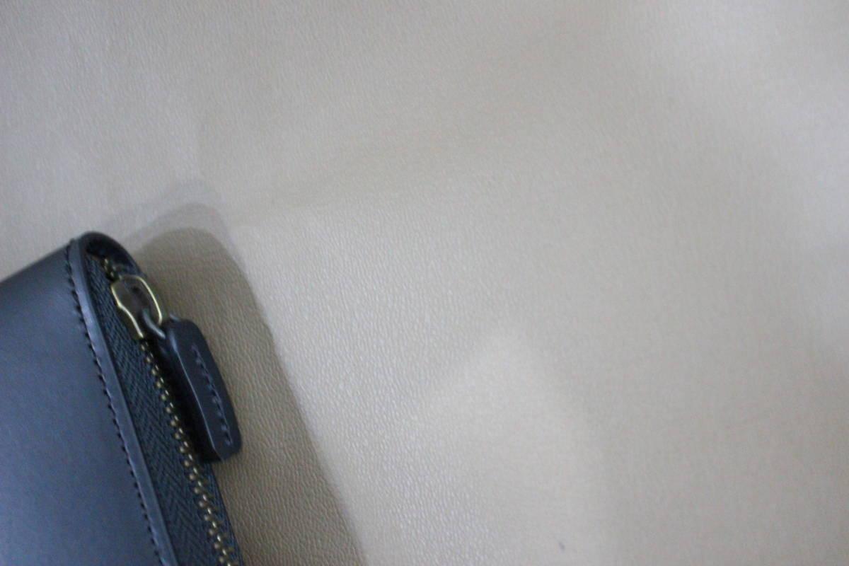 百貨店購入品 19SS 無印良品 新作 イタリア産ヌメ革ラウンドファスナー長財布 黒 新品 MUJI ムジ レザーウォレット 正規品A_画像5