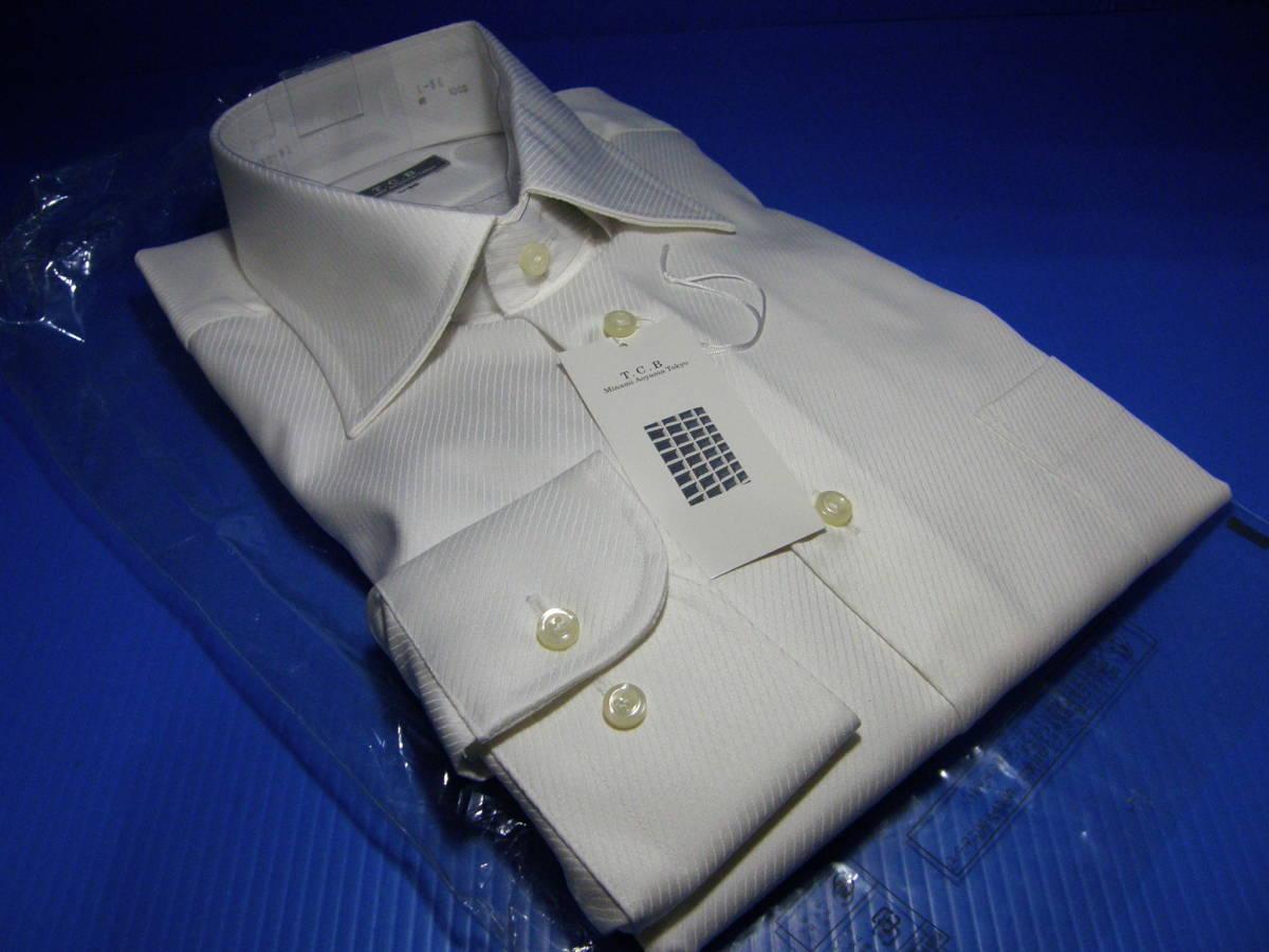 T.C.B AOYAMAのL41-86 高級仕立てワイシャツ ワイドカラーYシャツ2 織柄青山形態安定白ホワイトスタイリッシュスリムタイプゆったり_画像1
